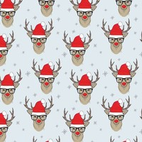 Hipster Rudolf with snowflake giftwrap - taluna - Spoonflower