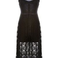 Floral Lace High & Low Midi Dress in Black