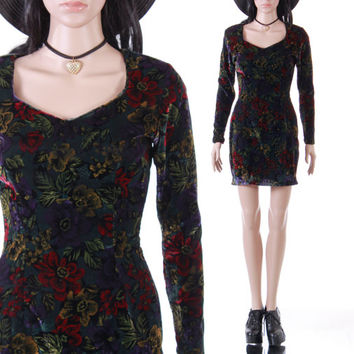 90s Floral Velvet Long Sleeved Short Mini Dress Black Colorful Vamp Goth 1990's Vintage Boho Clothing Womens Size XS Small