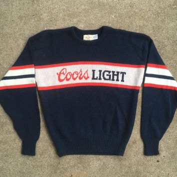 Vintage 1980s Cliff Engle COORS LIGHT Spellout Crew Neck Knit SWEATER Size Large Beer Football Sports Budweiser