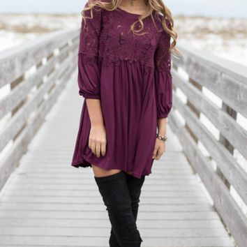 Shore Of It Plum Crochet Dress