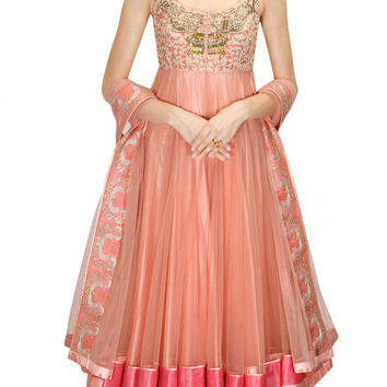 Pinkish Peach Color anarkali lehenga set