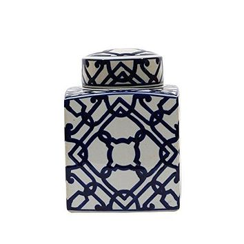 Chinoiserie Blue & White Ceramic Ginger Jar with Lid