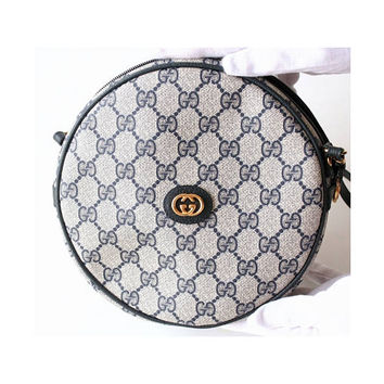 Gucci Bag Vintage Monogram Navy Round Shoulder Handbag Purse Authentic Rare