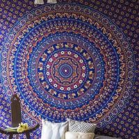 Folkulture Journey Mandala in Bohemian Hippie Style, Indian Elephant Bedspreads for Bedroom, Blue Tapestry Wall Hanging or Beach Throw or Hippy Bedding, Queen Size Psychedelic Boho Spread