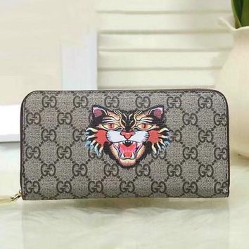 CREYUP0 GUCCI Woman Men Fashion Angry Cat Clutch Bag Leather Purse Wallet1
