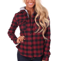Black and Burgundy Flannel Jacket with Zipper Front and Hoodie
