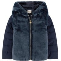 Armani Junior Girls Fancy Navy Blue Faux-Fur Hooded Jacket