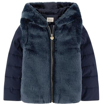 Girls Fancy Navy Blue Faux-Fur Hooded Jacket
