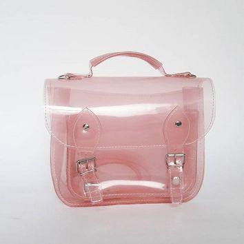 Bag #3 Small Clear Pink plastic satchel