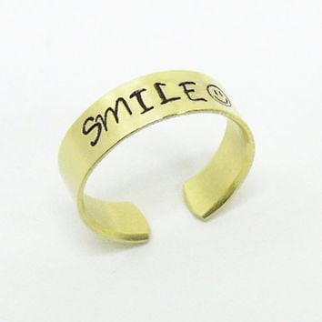 RESERVED for Syham - Stamped smile ring smiley face ring - Brass adjustable ring