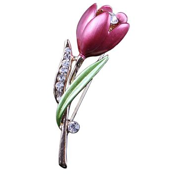 Elegant Tulip Flower Brooch Pin Rhinestone Crystal Costume Jewelry Clothes Accessories Jewelry Brooches For Wedding