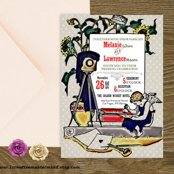 Digital Download, Wedding Invitation Template, Editable Printable, Instant Download, Cupid Love Vintage Modern Typography, #1CM78-1