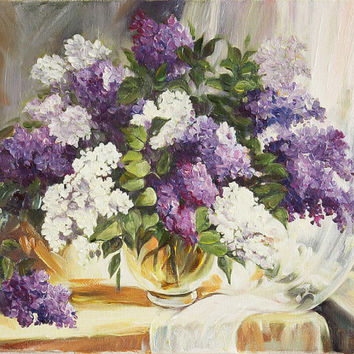 Oil Painting - Lilacs Still Life in Vase Canvas Art Home Decor - Stretched & Ready to Frame