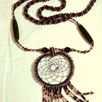 Dream Catcher Necklace - Vintage Southwest Beaded Red and Black Necklace - Native American Style