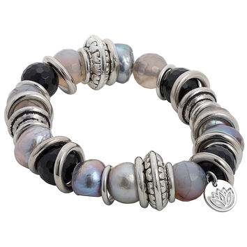 Stretchy Bracelet with Grey and Black Baroque Pearl and Stainless Steel Rings