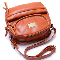 Faux Tassel Zipper Leather Shoulder Bag