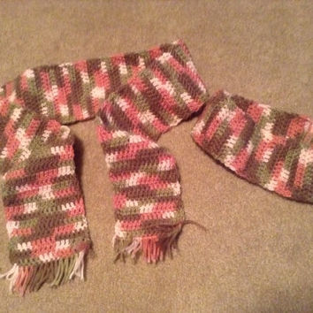 Pink Camo Crocheted Scarf & Headband