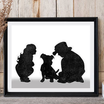 Dog art, Kids with dog, Girl and boy with puppy, Nursery decor, Black watercolor, Printable art, Pet art, Modern wall art, Greeting card