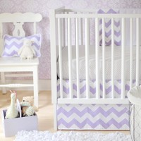 Chevron Zig Zag Baby Lavender Crib Bedding Set