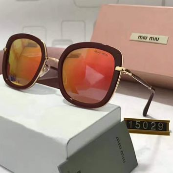 Miu Miu Women Casual Popular Summer Sun Shades Eyeglasses Glasses Sunglasses Orange red I-A-SDYJ