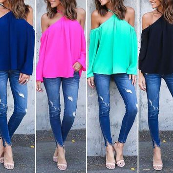 Fashion Womens Off Shoulder Casual Loose Tops Blouse Cut Out Long Sleeve Shirt