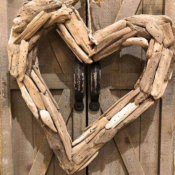 Driftwood Heart Wreath --  13-in