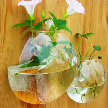 Decorative Wall Hanging Glass Vase Clear Goldfish Bottle Wall Flowers Vase Floral Creative Home Hydroponic christmas