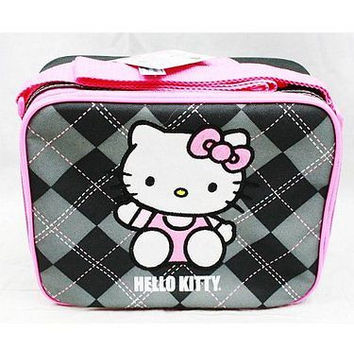 Hello Kitty Gray Gargoyle checkered Insulated Lunch Bag by Sanario-New withTags!
