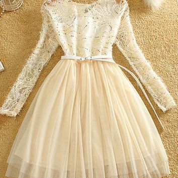 Streetstyle  Casual Apricot Patchwork Hollow-out Lace Double-deck Round Neck Mini Dress