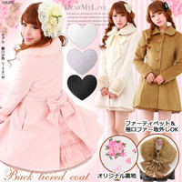 Fake fur with wool & back Tiered princess coat back Tiered