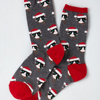 Kawaii Here Comes Santa Paws Socks Size OS by ModCloth
