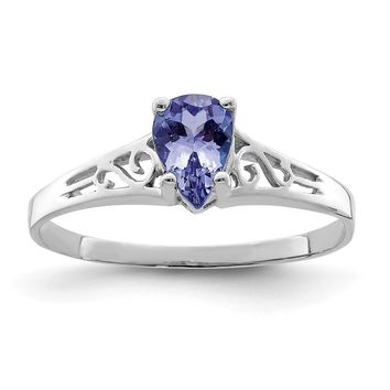 14k White Gold 6x4mm Pear Tanzanite Ring