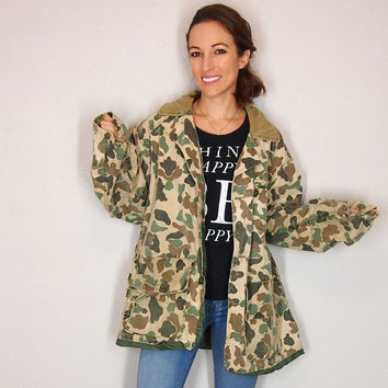 Vintage Hunting Military Style Camo Jacket with Cordoroy Collar Jacket