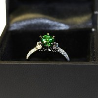Emerald Promise Ring Solitaire Green Cubic Zirconia in Box2