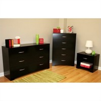 South Shore Maddox Dresser with Chest and Nightstand Set in Pure Black - Walmart.com