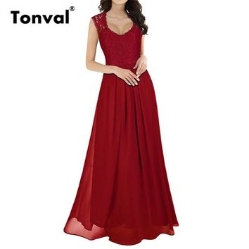 Tonval Summer Chiffon Maxi Dress 2017 Women Evenning Party Elegant Sleeveless Red Vestidos Vintage Lace Sexy Long Dresses