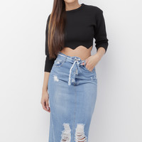 CHARLEE DENIM MAXI SKIRT