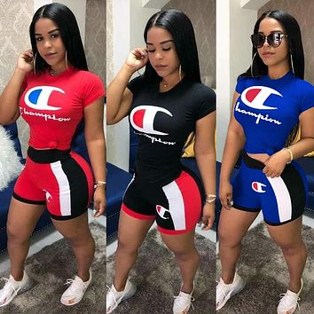 Champion New Fashionable Woman Casual Print Short Sleeve Top Shorts Set Two Piece