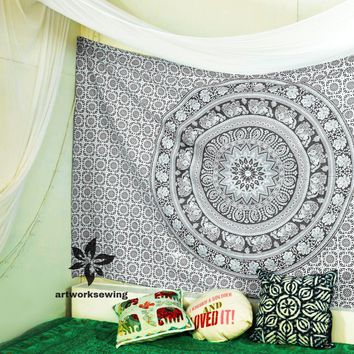 Flowers Elephant Black and White Tapestry Wall Hanging Mandala Wall Tapestry Boho Tapestry Hippie Bohemian Yoga Tapestry Wall Decor