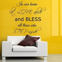 Wall Decals Vinyl Decal Sticker Wording Quote in Our Home Let Love Abide and Bless All Those Who Step Inside Bedroom Decor Living Room Interior Design Beauty Salon Kg854