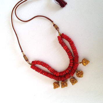 Jewelry, Coral Necklace, Christmas Gift, Gold  Plated, Gemstone, For Women, Coral Stones, Natural Stone, Tribal, Unique, Genuine, OOAK