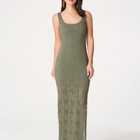 bebe Womens Pointelle Jersey Maxi Dress Dusty Olive