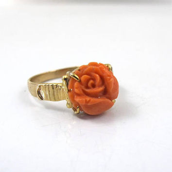Antique Victorian Coral Ring, Hand Carved Natural Red Coral Rose Flower, Antique Yellow Gold Mediterranean Coral Jewelry,  Size 6