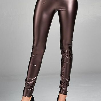 Brown Liquid Leggings