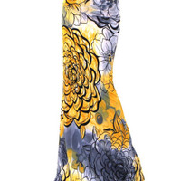 Yellow And Blue Floral Print Maxi Skirt