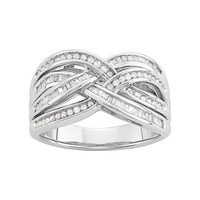 1/2 Carat T.W. Diamond Sterling Silver Woven Ring (White)