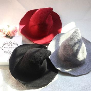Along The Sheep Wool Cap Knitting Fisherman Hat Winter/Autumn Female Fashion Witch Pointed Basin Bucket Hat Accessories 2018