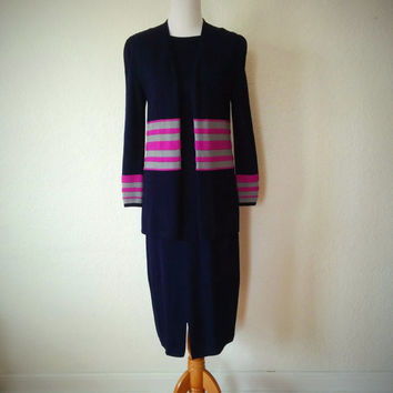 Vintage 70's Knit Dress Set St. John Striped Navy Blue 20's Style with Matching Vest