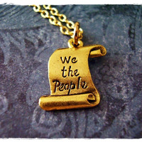 Gold US Constitution Necklace - Antique Gold Pewter US Constitution Charm on a Delicate 18 Inch Gold Plated Cable Chain